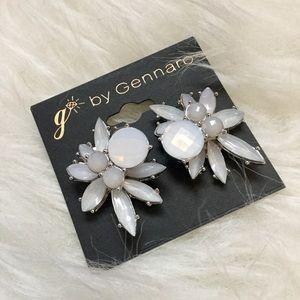 NWT! Pierced white rhinestone statement earrings